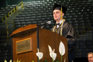 Special education major Nicholas Flippen speaks to graduates of the Reich College of Education. Photo by University Communications.